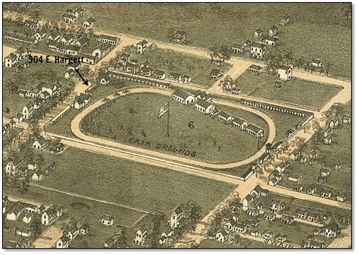 Atwater-Perry House depicted on the Birds Eye View of Raleigh, 1872